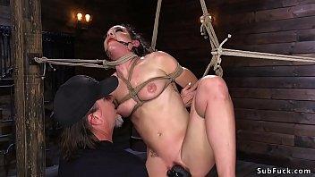 Babe gets upside down hogtie suspension