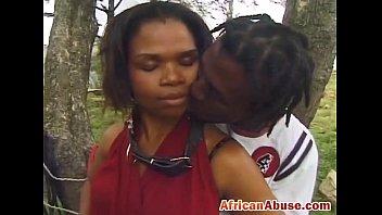 African chick outdoor licks sucking black cock