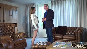 Teen girl fucks old real estate agent for a lower price on house