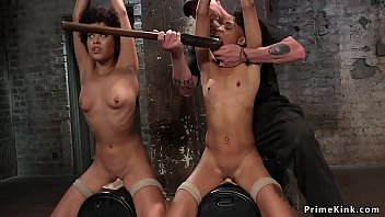 Hogtie naked - Ebony lesbian slaves hogtied and tormented