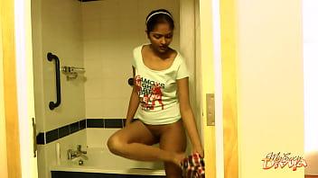Seductive Dark Skin College Girl Striptease In Shower