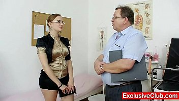 Chubby amateur girl with glasses fingered by gy...