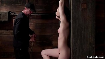 Slut in extreme hogtie hanged and whipped