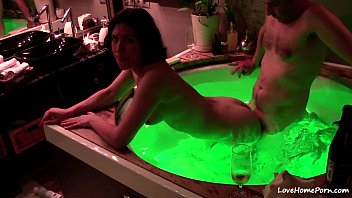 Jacuzzi water jet sex Drinking champagne and fucking in a hot tub