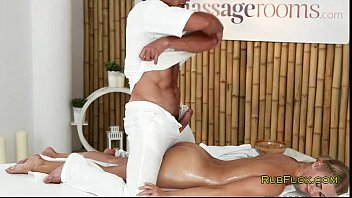 Blonde wanks dick to older masseur