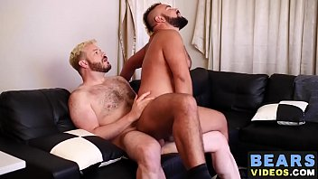Hardcore gay bear sex - Cock riding bear doggystyled hardcore with raw cock