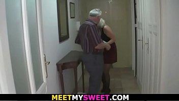 Old couple fuck his blonde teen girlfriend