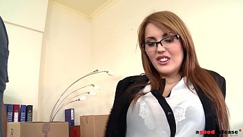 Hanna Montada'_s pussy gets wet &amp_ fucked hard by delivery guy at the office