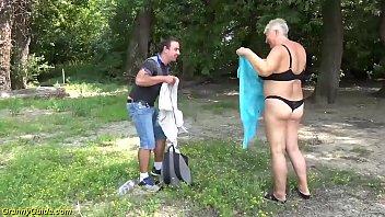 young stepson fucks mom on public beach