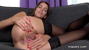 Vulva close-up Slutty czech cutie gapes her pink quim to the special