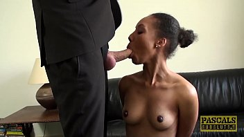 British ebony subslut dommed and fed with warm jizz