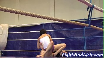 Lesbian eurobabes wrestling in a boxing ring