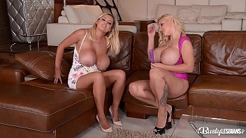 Busty lesbians Katie T. & Dolly Fox lick their shaved pussies all day long