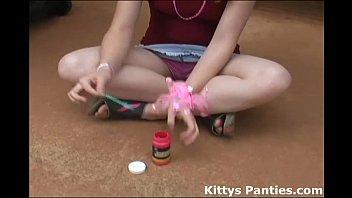 Teen flash tubes Innocent teen kitty blowing bubbles
