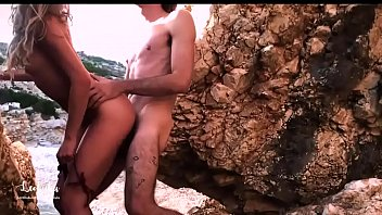 asshole girl made a blowjob to her lover on a desert island