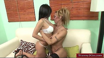 Busty big cock tranny Celeste Glamour sucked and bangs chick