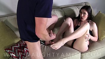 Home alone with my step brother he cums on my feet - Amiee Cambridge porno izle