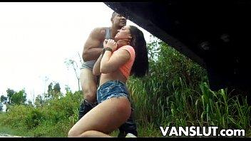 Brittany Shae bondage fuck outdoors