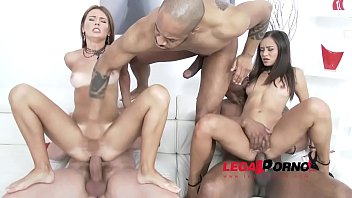 Petite Monster cock loving sluts Timea Bella & Shrima Malati interracial DP!