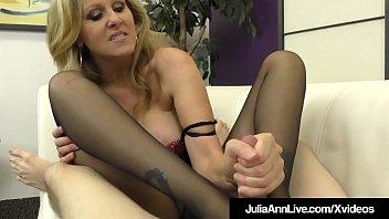 Busty Blonde Milf Julia Ann Foot Fucks A Hard Slave Cock!