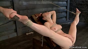 Brunette sub squirting during torment