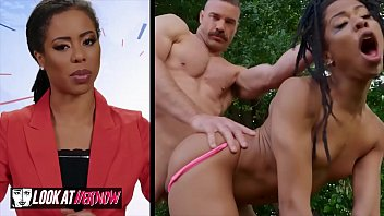 Im looking at porn Small tit ebony kira noir gets pounded outdoors - look at her now