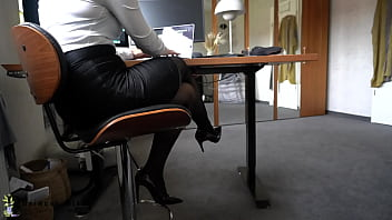 During Office Work Boss Uses Ignorant Secretaries Nylon Feet For Footjob - Cum On Soles, Business-Bitch