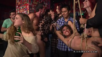 Public disgrace lesbian - Two slaves orgy banged in public bar