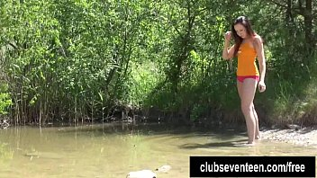 Masturbation clubs - Brunette teen jenny rubs pussy at the lake