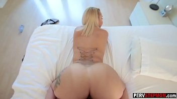 Sexy blonde MILF stepmoms striptease for young stepson