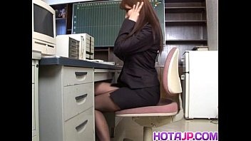 Mei Sawai Asian pleasures her hairy pussy with fingers at office thumbnail