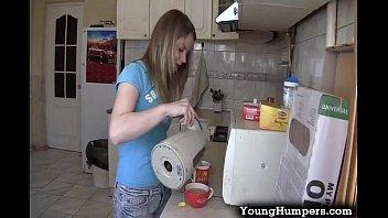 Teen girl taking it deep in the kitchen