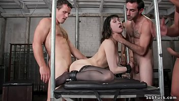 Huge tits slut in anal gangbang group