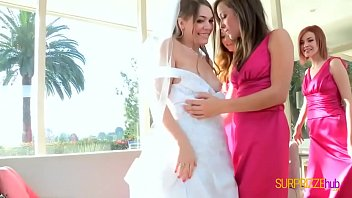 Bride in lesbian foursome with hot bridesmaids