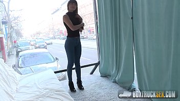 Ass in a box Mona kim gives a facefucking blowjob in public