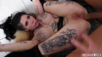 Inked Goddess Megan Inky takes on three dicks and tries to fit them in her 3 holes, sometimes 2
