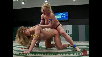 Fist fighting game Busty babes wrestle and fuck