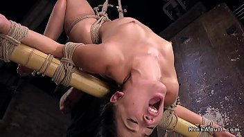 Slave hogtied suffers extreme bondage