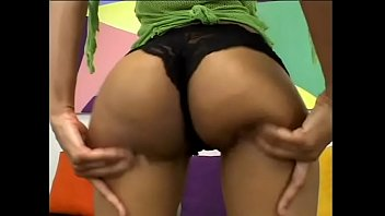 Nasty black girl Amerika is fucked from behind in her shiny black ass on couch thumbnail