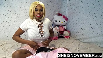 Busty African American Girl Wearing Embroidered Lingerie Underwear Taking Of White Shirt In Slow Motion And Short Dress , Strip Down To Thong Bra And Sock , Cute Butt Up In The Air , Tight Under Wear In Her Booty Msnovember