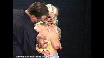 Humiliated blonde slaveslut Cherrys nosehooked tit tortures and feet whipping