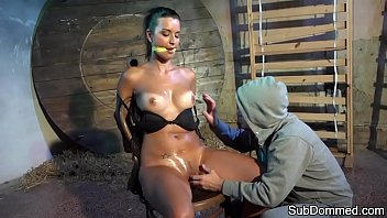 Beautiful sub groped and toyed while bound