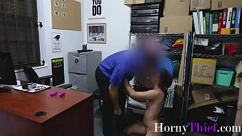 Teen Brunette Thief Gets Forced By One Of The Securities- Ava Eden