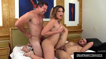 Two trannies sex Big ass tgirl kananda hickman trades anal sex and blowjobs with two guys