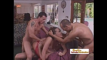 Gorgeous brunette gets fucked by three cocks at the same time