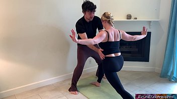 Stepson helps stepmom with yoga and stretches her pussy
