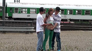 Young girls street sex - Young teens risky public railway station threesome