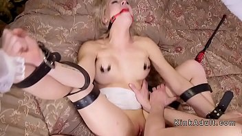 Two blonde slaves anal fucked threesome