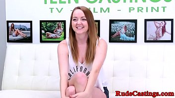 Real teen gagging while cockriding at casting
