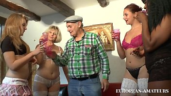 An old man with 4 girls